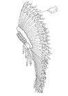 Målarbild huvudprydnad - fjäderskrud