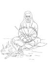 Målarbild indian vid lägereld