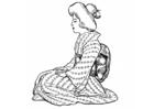 Målarbild japansk kvinna - traditionell klädsel