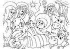 Målarbild julkrubba - Jesu födelse
