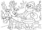 Målarbild jultomte med renar
