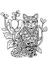 Målarbild katt i trädgÃ¥rden