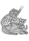 Målarbild katter leker