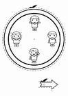 Målarbild klocka med emotikoner - pojkar