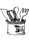 Målarbild köksredskap