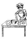 Målarbild kvinnlig kock