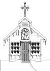Målarbild kyrka om vintern
