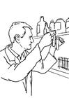 Målarbild laboratorieassistent
