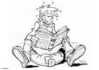 Målarbild läsa en bok