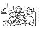 Målarbild läsning - familj
