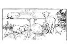 Målarbild landskap med lamm