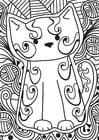 Målarbild lilla katt