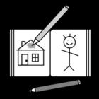 Målarbild mÃ¥larbok och färgpennor