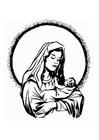 Målarbild Maria och Jesus