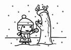 Målarbild mata fÃ¥glarna i snön (talgboll)