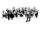 Målarbild mexikansk orkester