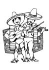 Målarbild mexikanska musikanter