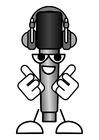 Målarbild mikrofon - att lyssna pÃ¥ musik