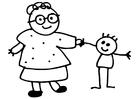 Målarbild mor och barn