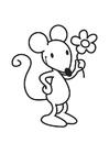 Målarbild mus med blomma