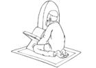 Målarbild muslim i bön
