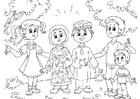 Målarbild muslimska barn med barn frÃ¥n Västvärlden