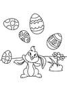 Målarbild PÃ¥skharen leker med pÃ¥skägg