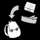 Målarbild packa ryggsäcken