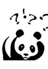 Målarbild panda som ställer frÃ¥gor