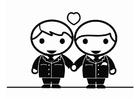 Målarbild partnerskap - homosexuella män gifter sig