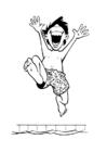 Målarbild pojek vid swimmingpool