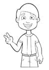Målarbild pojke - fred