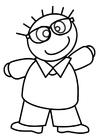 Målarbild pojke med glasögon
