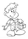 Målarbild pojke med present