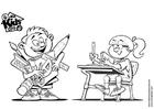 Målarbild pojke och flicka i skolan