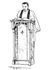 Målarbild präst i predikstol