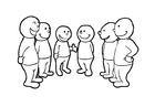 Målarbild prata i grupp