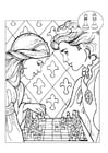 Målarbild prins och prinsessa spelar schack