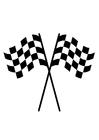 Målarbild racingflaggor