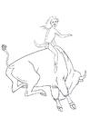 Målarbild rodeo med bisonoxar