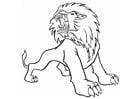 Målarbild rytande lejon