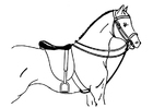Målarbild sadlad häst