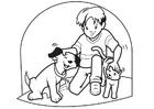 Målarbild sällskapsdjur - hund och katt