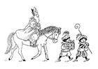 Målarbild Sankt Nikolas till häst
