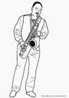 Målarbild saxofonist