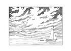 Målarbild segelbÃ¥t vid kusten