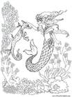 Målarbild sjöjungfru och sjöhäst