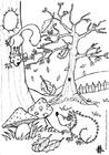 Målarbild skog - igelkott och ekorre