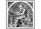 Målarbild skrivande munk