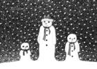 Målarbild snögubbar